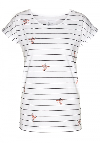 (w) T-Shirt Armedangels Liv Birds On Stripes