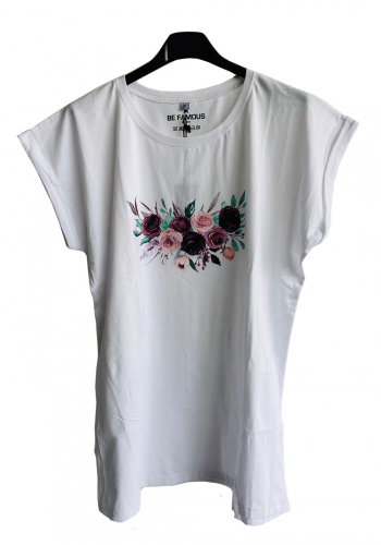 (w) T-Shirt Be Famous Flower