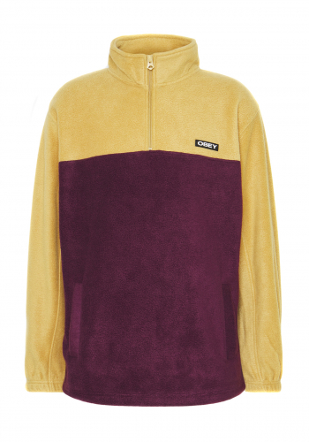 Fleece Obey Eulogy Mock Zip almond